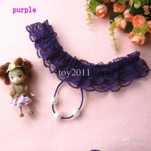 3-pearl string thong purple